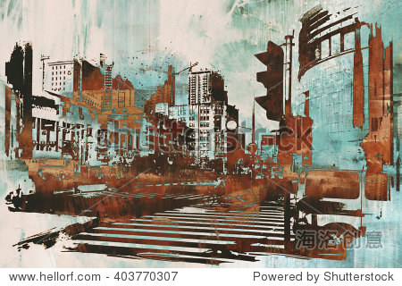 urban cityscape with abstract grunge illustration painting