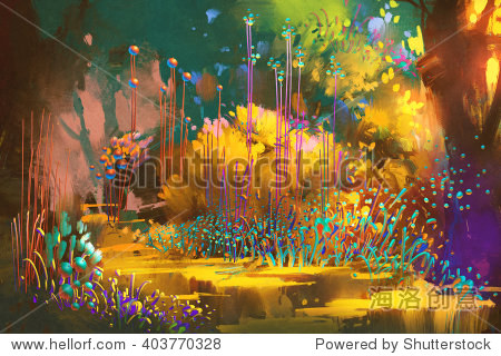fantasy forest with colorful plants and flowers illustration painting