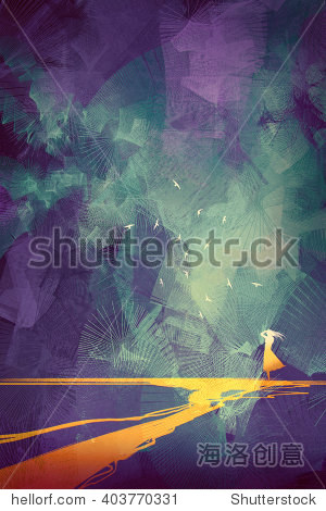 woman standing on yellow line against sky with graphic style illustration