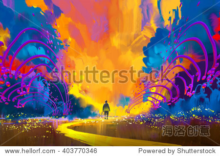 man walking to abstract colorful landscape illustration painting