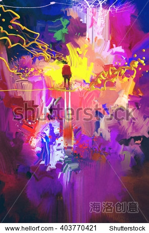 man standing in abstract colorful place illustration painting