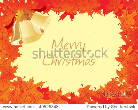 background with autumn leaf and xmas day bell