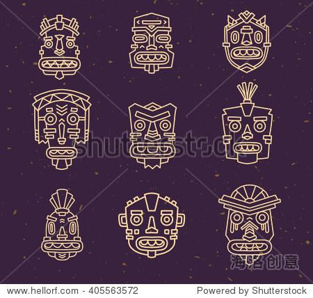Vector illustration of set of ethnic tribal colorful masks on dark sand texture background. Hand drawn line art design.
