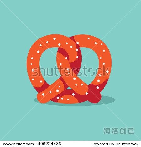 Pretzel flat design icon