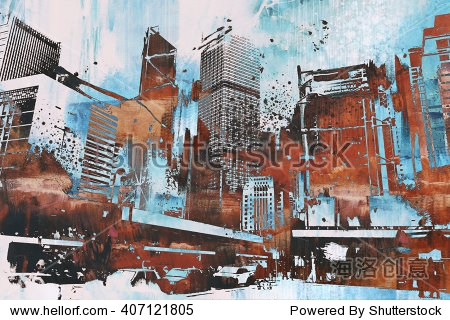 skyscraper with abstract grunge illustration painting