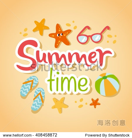 Summertime traveling card with beach summer accessories  vector illustration
