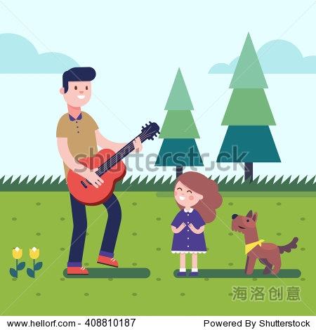 Father playing guitar music to his daughter girl with a dog. Outdoor musical excitement. Modern flat vector illustration clipart.