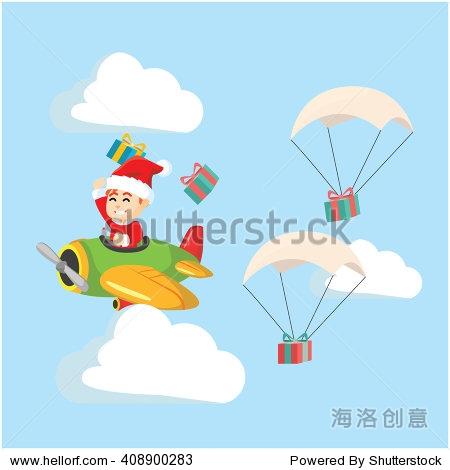 santa boy delivering gift with plane