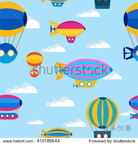 Seamless repeating pattern of beautiful bright multi-colored balloons on a background of clouds and sky