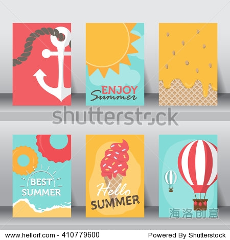 summer  holiday  vacation poster set. flat design. can be use for greeting and invitation card.  background   backdrop.  layout template in A4 size. vector illustration