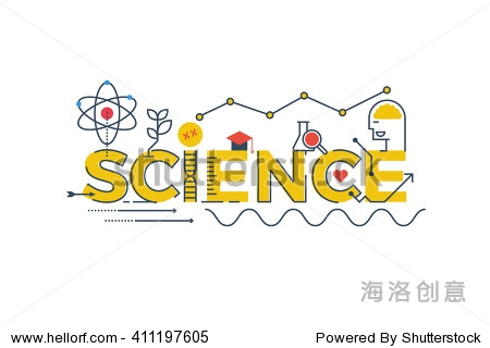 Illustration of SCIENCE word in STEM - science  technology  engineering  mathematics education concept typography design with icon ornament elements
