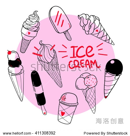 Set of hand drawn ice cream with place for text  doodle ice cream on pink circle background  good for food design and dessert menu  hand lettering Ice Cream  Eps 8