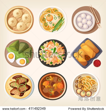 Chinese street  restaurant or homemade food icons for ethnic menu