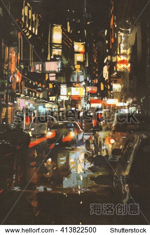 night scene of a street in city illustration painting