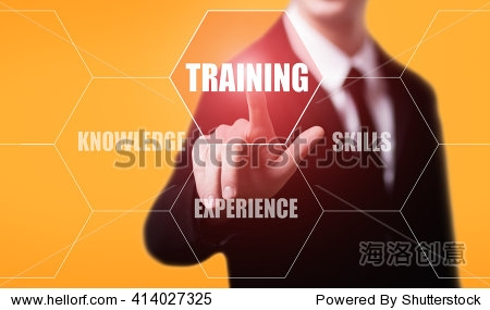 business  technology  internet and e-learning concept. Businessman pressing training button on virtual screens with hexagons and transparent honeycomb