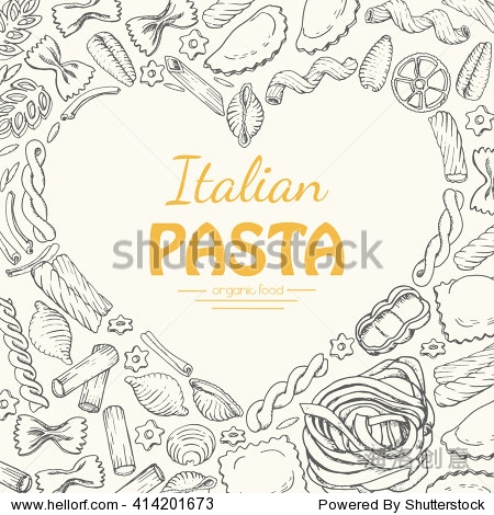 Vector background with Italian pasta. Vector  illustration for your design