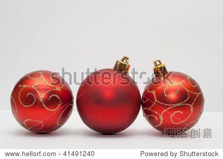 christmas balls with shallow focus on light background