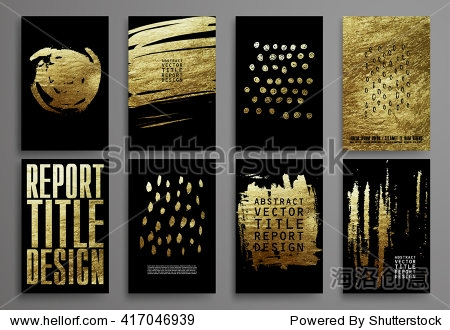 Set of Black and Gold Design Templates for Brochures  Flyers  Mobile Technologies  Applications  and Online Services  Typographic Emblems  Logo  Banners. Abstract Modern Backgrounds.