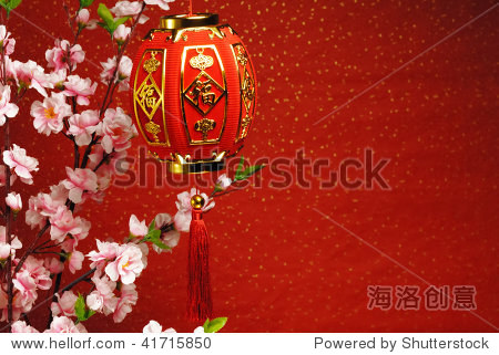 Chinese new year decoration--Traditional lantern and plum blossom on a festive background.