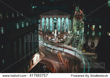 Long Exposure - Royal Stock Exchange - London -  Light Trails - City of London