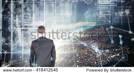 Businessman standing with his briefcase against image of a earth