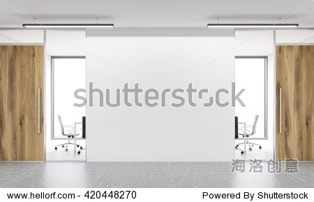 Front view of blank white wall in office  interior. Mock up  3D Rendering