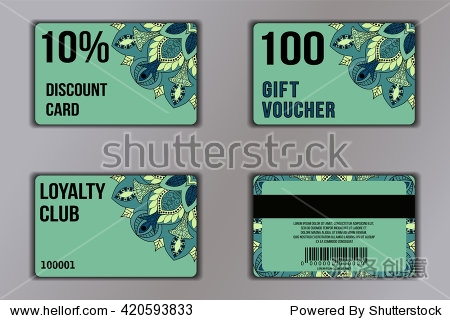 Set of cards with floral mandala pattern including a discount card  loyalty card  gift voucher. Front page and back page. Vector coupon with round floral ornament on background.