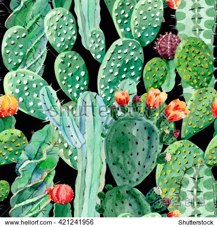 watercolor cactus seamless background