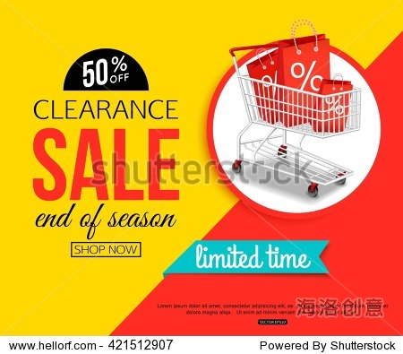 Clearance Sale Banner for shop  online store. Vector illustration.