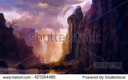 Illustration of digital painting  landscape where it is observed big mountains  rocks and trees  with a lake in the center and a sky of many clouds concept with fantasy