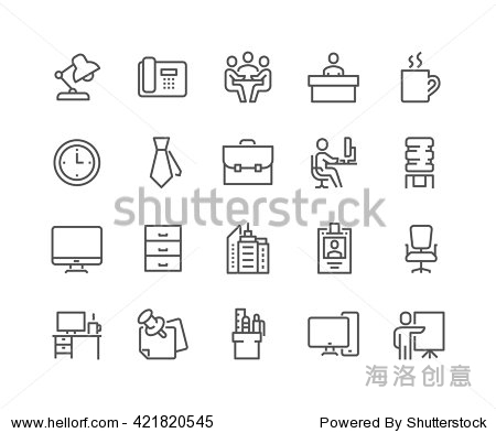 Simple Set of Office Related Vector Line Icons.  Contains such Icons as Business Meeting  Workplace  Office Building  Reception Desk and more.  Editable Stroke. 48x48 Pixel Perfect.