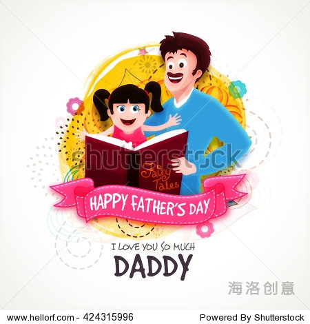 Cute daughter with her father reading fairy tales on abstract background for Happy Father's Day celebration.