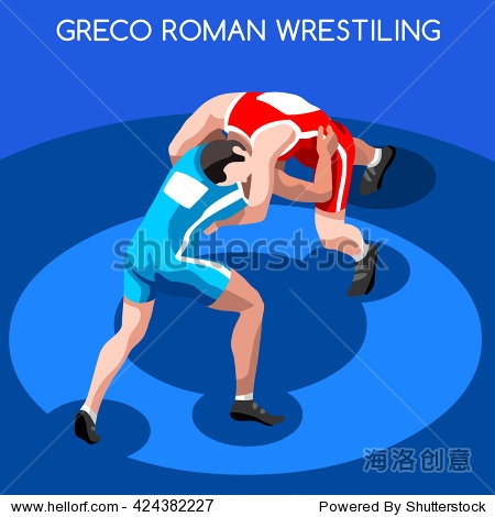 Freestyle Wrestling Greco Roman Athletes Sportsman Games Icon Set. 3D Isometric Athlete. Sporting Championship People. Sport Infographic Freestyle us election events Vector Image