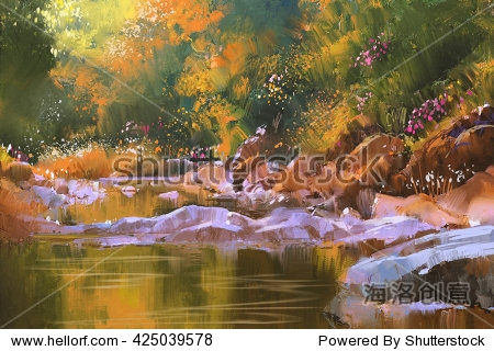 river lines with stones in beautiful forest nature illustration painting