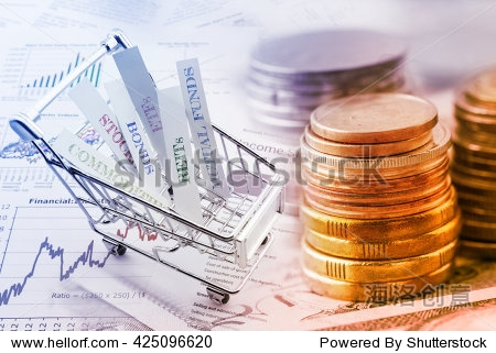 Stack of coins and a trolley with various types of financial investment products i.e. stocks  commodities  bonds  REITs  mutual funds  ETFs. Wealth management with risk diversification concept.