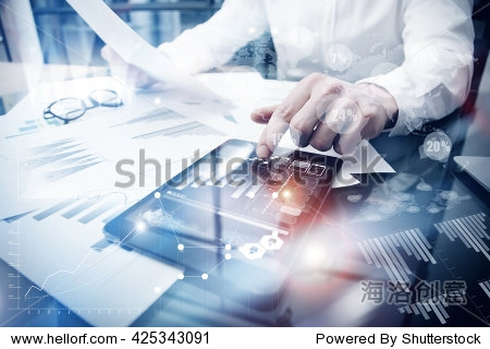 Risk Management Work process.Picture Trader working Market Report Document Touching Screen Tablet.Using Worldwide Graphic Icons Stock Exchange Report.Business Project Startup.Horizontal Flares Effect