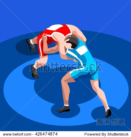 Freestyle Wrestling Greco Roman Athletes Summer Games Icon Set. 3D Isometric Athlete. Sporting Championship International. Sport Infographic Freestyle Wrestling Greco Roman events Illustration