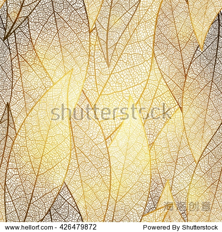 Seamless pattern with gold leaf  autumn leaves background. Vector  EPS10.