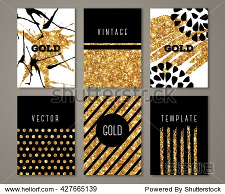 Brochure template design set with brush stroke and geometric elements. Vector illustration. Grunge vintage cards with golden paint  retro style poster or flyer. Polka dots and stripes on gold