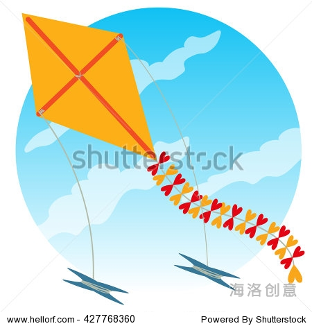 Kite flying in the sky colored illustration in cartoon style.
