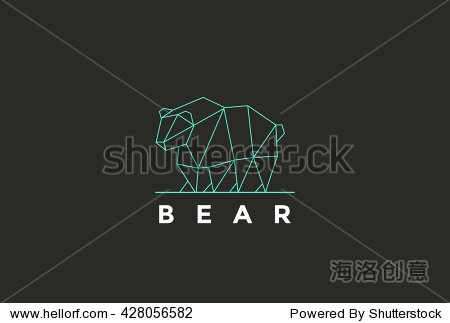 Polygonal Bear Logo abstract design vector template linear.