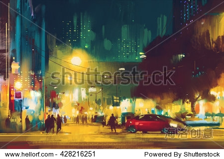 night scene of cityscape with illumination illustration art