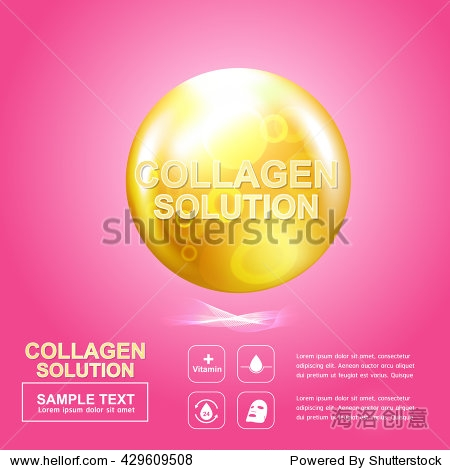 Collagen Serum Drop and Atoms Vitamin Background Skin Care Cosmetic concept.