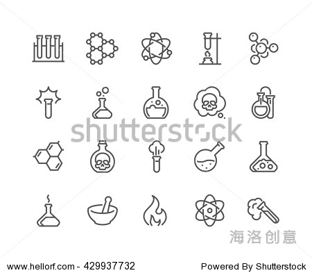 Simple Set of Chemical Related Vector Line Icons.  Contains such Icons as Atom  Flask  Experiment  Research  Laboratory and more.  Editable Stroke. 48x48 Pixel Perfect.