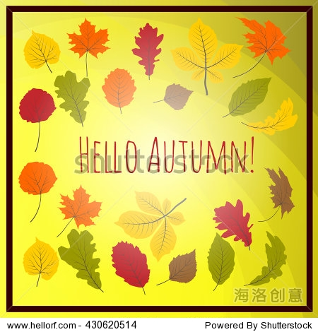 Hello autumn. Hand drawn different colored autumn leaves. Sketch  design elements. Vector illustration.