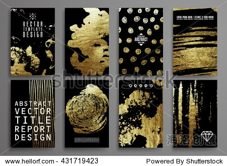 Set of Black and Gold Design Templates for Brochures  Flyers  Mobile Technologies  Applications  and Online Services  Typographic Emblems  Logo  Banners and Infographic. Abstract Modern Backgrounds.