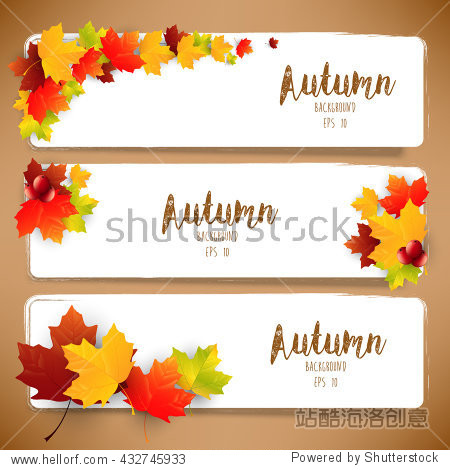 Colorful autumn leaves of banners.Vector