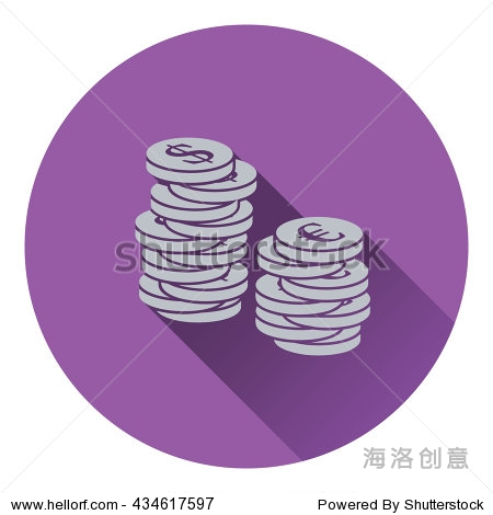 Icon of Stack of coins. Flat design. Vector illustration.