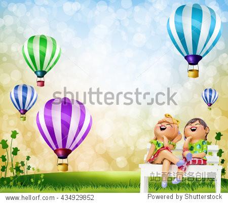 Children living open grasslands  and balloons.
