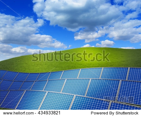 3d rendered illustration with green grass field and stack of solar panels